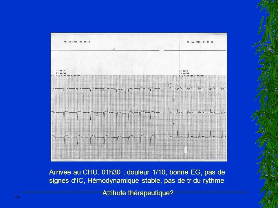 34 Arrivée au CHU: 01h30, douleur 1/10, bonne EG, pas de signes dIC, Hémodynamique stable, pas de tr du rythme Attitude thérapeutique?