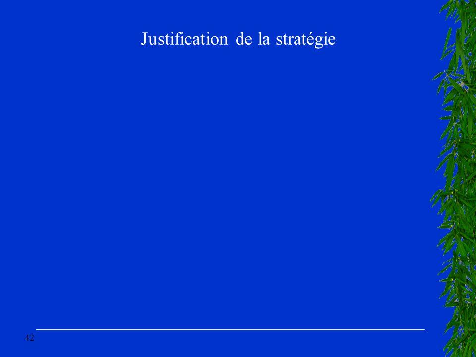 42 Justification de la stratégie