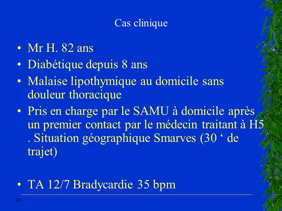 48 Cas clinique Mr H. 82 ans Diabétique depuis 8 ans Malaise lipothymique au domicile sans douleur thoracique Pris en charge par le SAMU à domicile ap