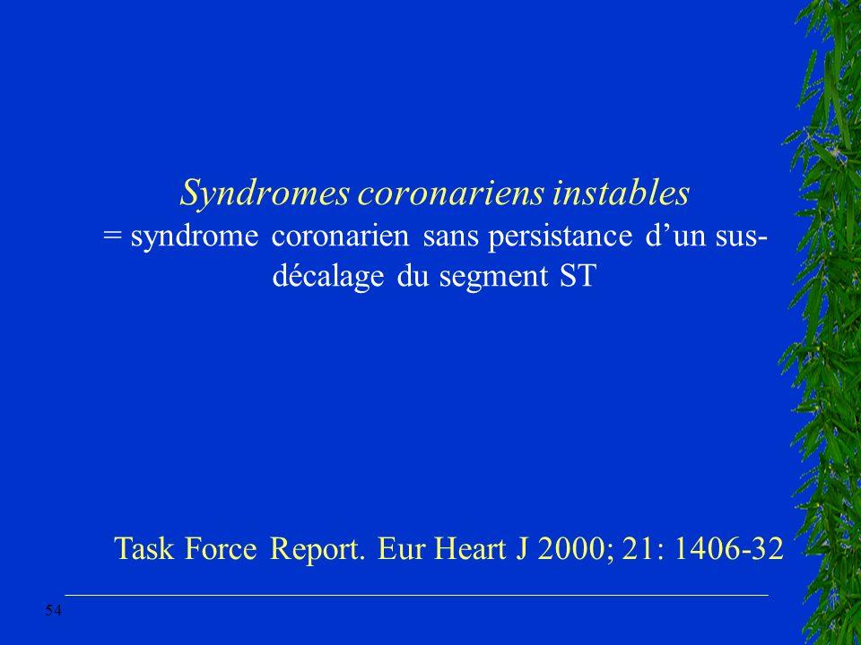 54 Syndromes coronariens instables = syndrome coronarien sans persistance dun sus- décalage du segment ST Task Force Report. Eur Heart J 2000; 21: 140