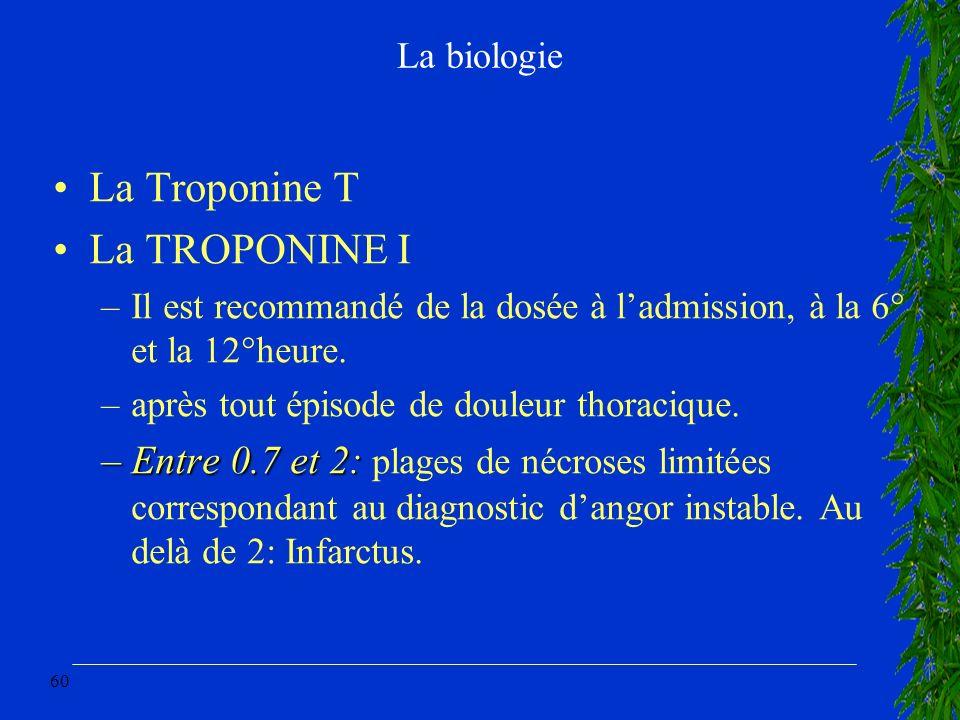 60 La biologie La Troponine T La TROPONINE I –Il est recommandé de la dosée à ladmission, à la 6° et la 12°heure. –après tout épisode de douleur thora