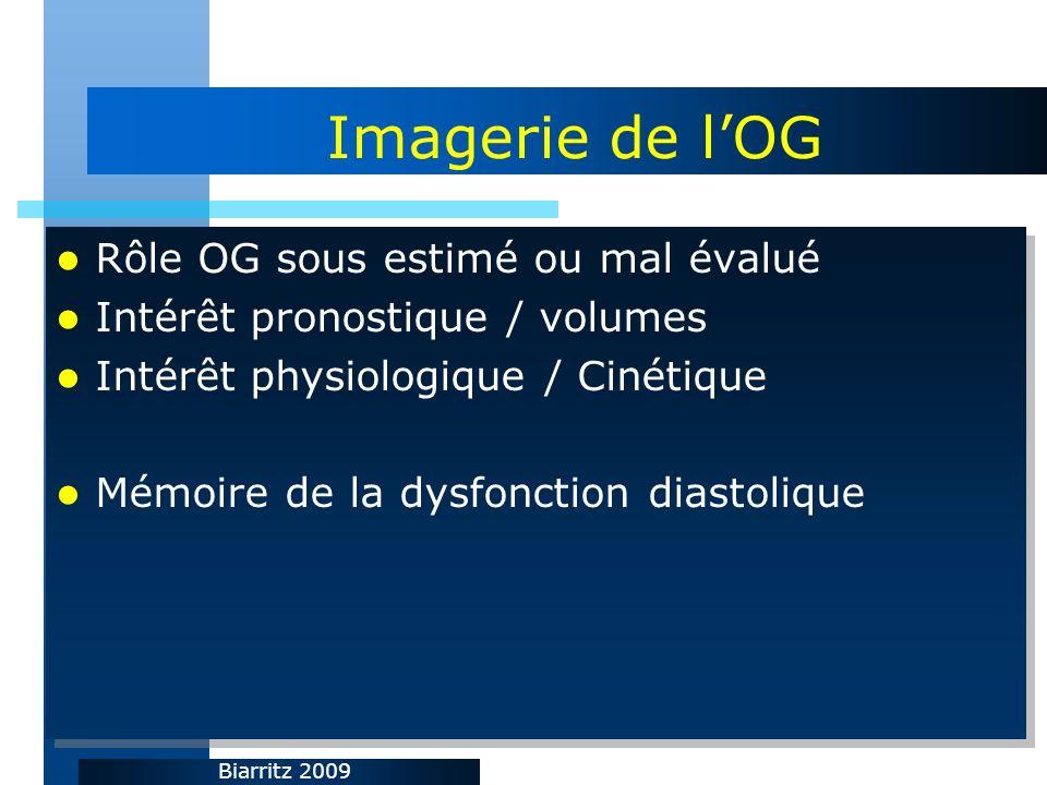 Biarritz 2009 Imagerie de lOG Rôle OG sous estimé ou mal évalué Intérêt pronostique / volumes Intérêt physiologique / Cinétique Mémoire de la dysfonct