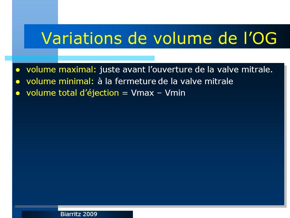 Biarritz 2009 Variations de volume de lOG volume maximal: juste avant louverture de la valve mitrale. volume minimal: à la fermeture de la valve mitra