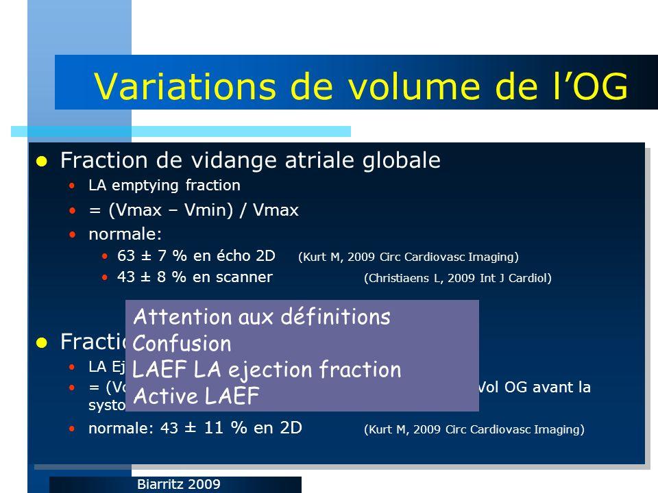 Biarritz 2009 Variations de volume de lOG Fraction de vidange atriale globale LA emptying fraction = (Vmax – Vmin) / Vmax normale: 63 ± 7 % en écho 2D (Kurt M, 2009 Circ Cardiovasc Imaging) 43 ± 8 % en scanner (Christiaens L, 2009 Int J Cardiol) Fraction déjection atriale active LA Ejection Fraction = (Volume OG avant systole atriale – Vol min OG) / Vol OG avant la systole atriale normale: 43 ± 11 % en 2D (Kurt M, 2009 Circ Cardiovasc Imaging) Fraction de vidange atriale globale LA emptying fraction = (Vmax – Vmin) / Vmax normale: 63 ± 7 % en écho 2D (Kurt M, 2009 Circ Cardiovasc Imaging) 43 ± 8 % en scanner (Christiaens L, 2009 Int J Cardiol) Fraction déjection atriale active LA Ejection Fraction = (Volume OG avant systole atriale – Vol min OG) / Vol OG avant la systole atriale normale: 43 ± 11 % en 2D (Kurt M, 2009 Circ Cardiovasc Imaging) Attention aux définitions Confusion LAEF LA ejection fraction Active LAEF