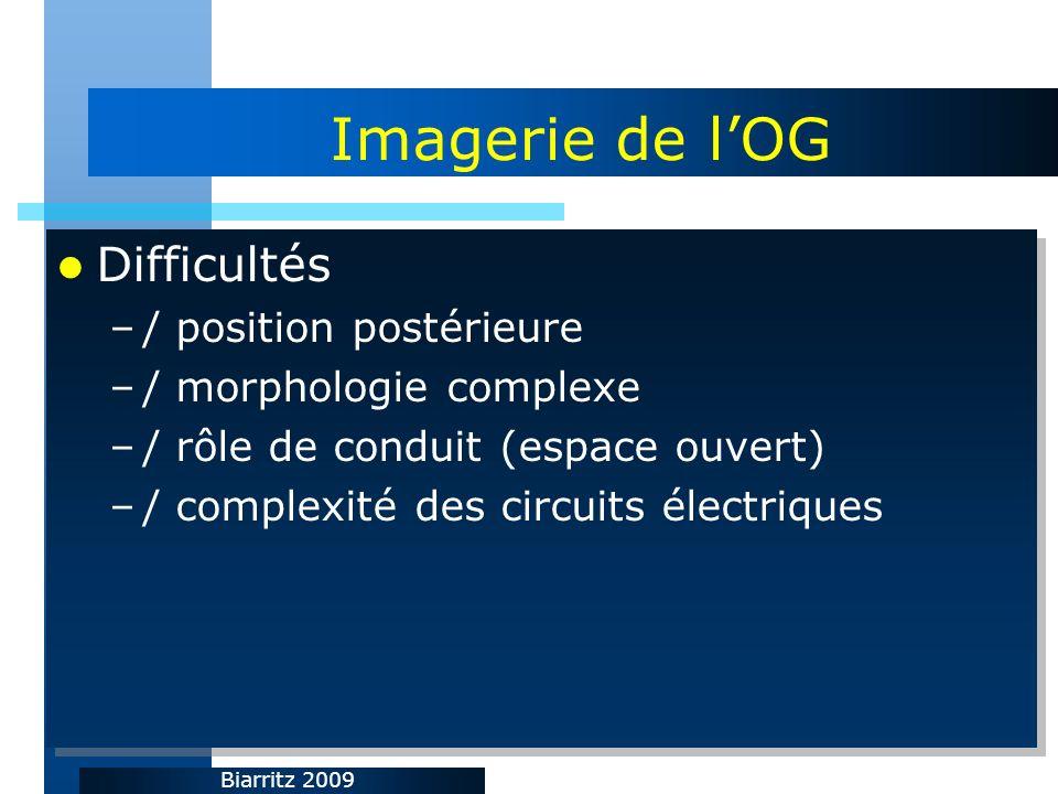 Biarritz 2009 Imagerie de lOG Difficultés –/ position postérieure –/ morphologie complexe –/ rôle de conduit (espace ouvert) –/ complexité des circuits électriques Difficultés –/ position postérieure –/ morphologie complexe –/ rôle de conduit (espace ouvert) –/ complexité des circuits électriques
