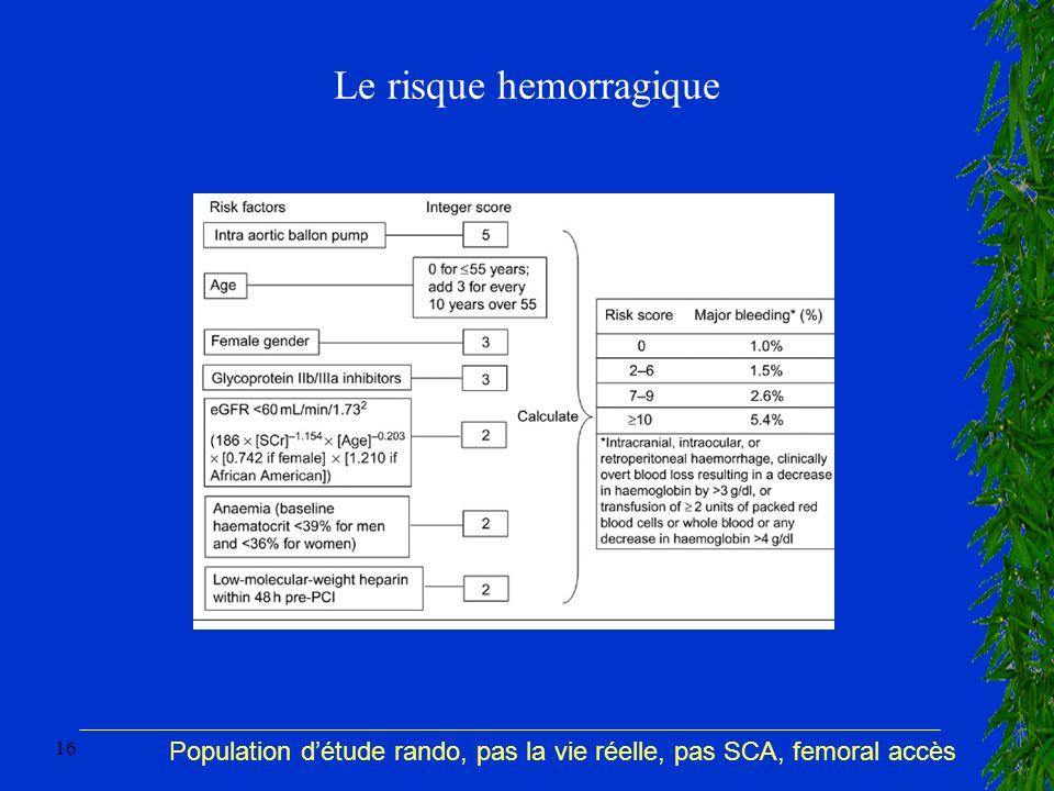 16 Le risque hemorragique Population détude rando, pas la vie réelle, pas SCA, femoral accès