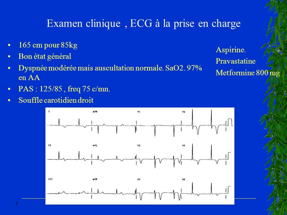 4 Examen clinique, ECG à la prise en charge 165 cm pour 85kg Bon état général Dyspnée modérée mais auscultation normale. SaO2. 97% en AA PAS : 125/85,