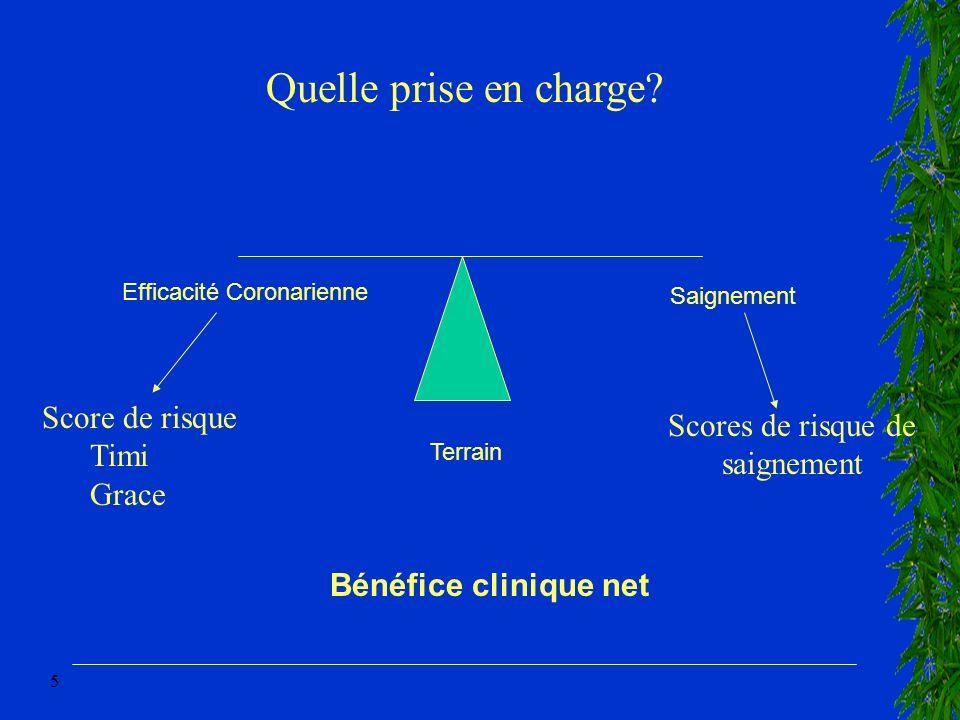 5 Efficacité Coronarienne Saignement Bénéfice clinique net Terrain Score de risque Timi Grace Scores de risque de saignement Quelle prise en charge?
