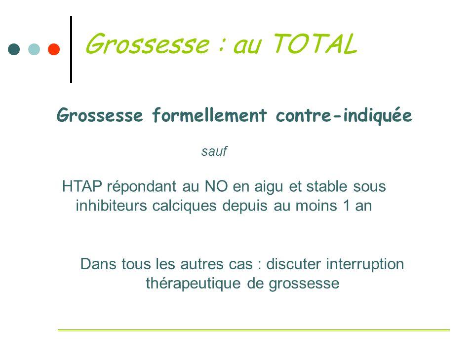 Grossesse : au TOTAL Grossesse formellement contre-indiquée sauf HTAP répondant au NO en aigu et stable sous inhibiteurs calciques depuis au moins 1 a