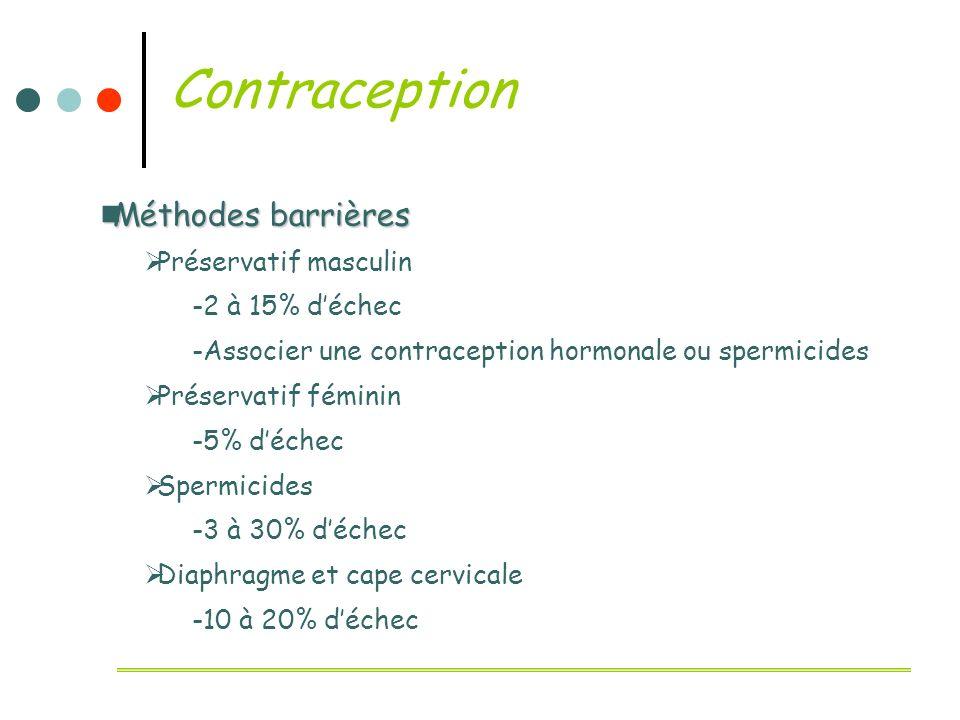 Contraception Méthodes barrières Méthodes barrières Préservatif masculin -2 à 15% déchec -Associer une contraception hormonale ou spermicides Préserva