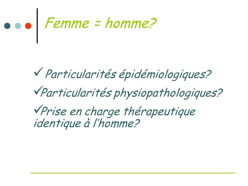 Femme = homme? P articularités épidémiologiques? P articularités physiopathologiques? P rise en charge thérapeutique identique à lhomme?