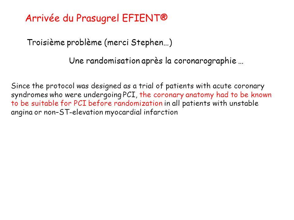 Arrivée du Prasugrel EFIENT® Troisième problème (merci Stephen…) Une randomisation après la coronarographie … Since the protocol was designed as a tri