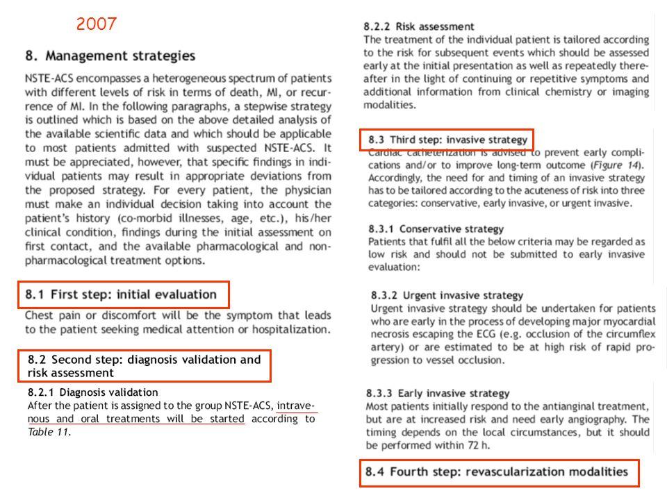 Lutilisation des anti GPIIbIIIa en amont de la salle de cathétérisme peuvent être discutée chez les patients à haut risque, déjà sous aspirine – thyénopyridine, pour lesquels une stratégie invasive est décidée, tels que ceux avec une Tn élevée, un diabète, un sous décalage du ST et qui ne sont pas à risque élevé de saignement (B) Classe IIb ACC / AHA 2011 Utilisation des anti GPIIbIIIa ESC 2010