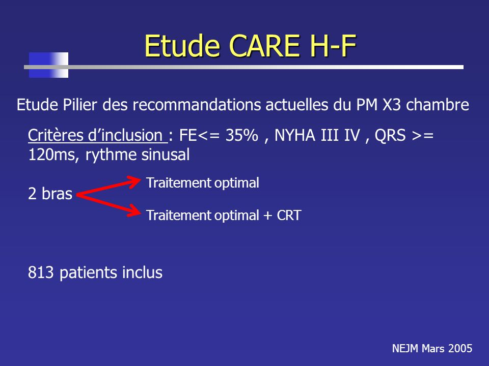 Etude CARE H-F Etude Pilier des recommandations actuelles du PM X3 chambre Critères dinclusion : FE = 120ms, rythme sinusal 2 bras Traitement optimal