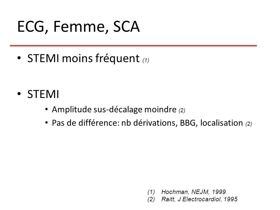 ECG, Femme, SCA STEMI moins fréquent (1) STEMI Amplitude sus-décalage moindre (2) Pas de différence: nb dérivations, BBG, localisation (2) (1)Hochman,