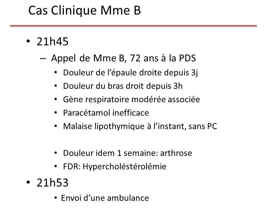 21h45 – Appel de Mme B, 72 ans à la PDS Douleur de lépaule droite depuis 3j Douleur du bras droit depuis 3h Gène respiratoire modérée associée Paracét