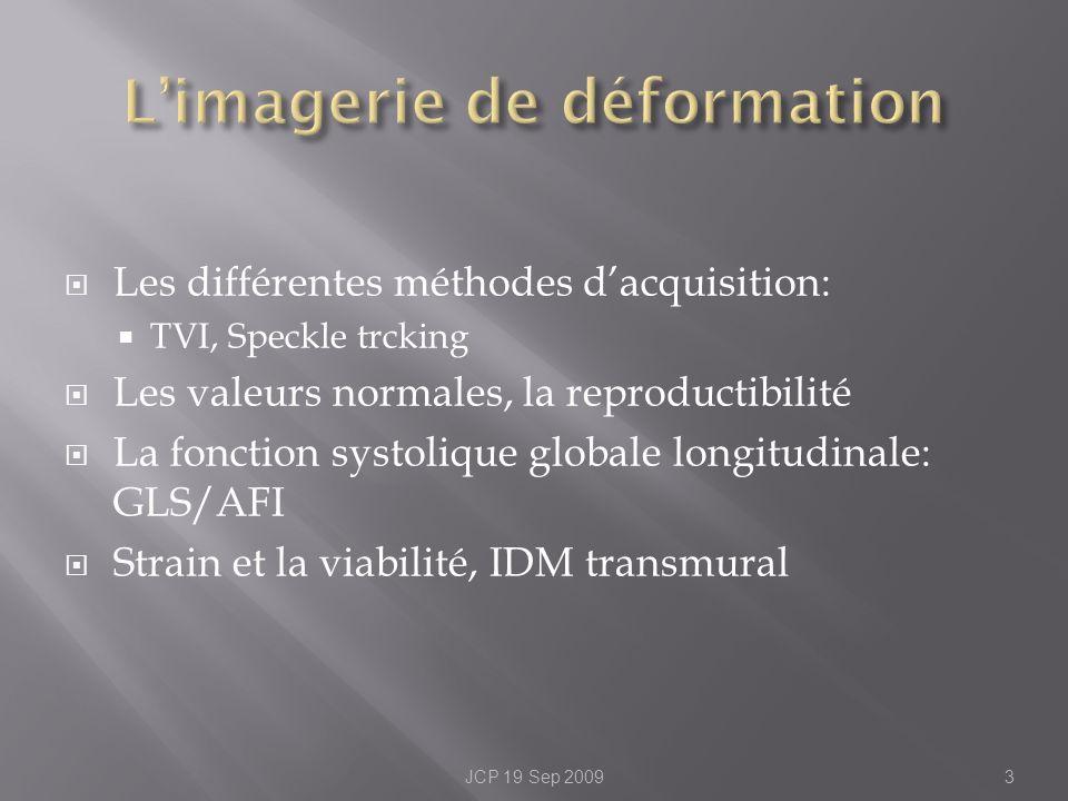 Les différentes méthodes dacquisition: TVI, Speckle trcking Les valeurs normales, la reproductibilité La fonction systolique globale longitudinale: GL