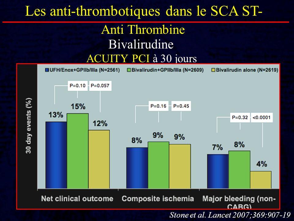 Les anti-thrombotiques dans le SCA ST- Anti Thrombine Bivalirudine ACUITY PCI à 30 jours Stone et al. Lancet 2007;369:907-19