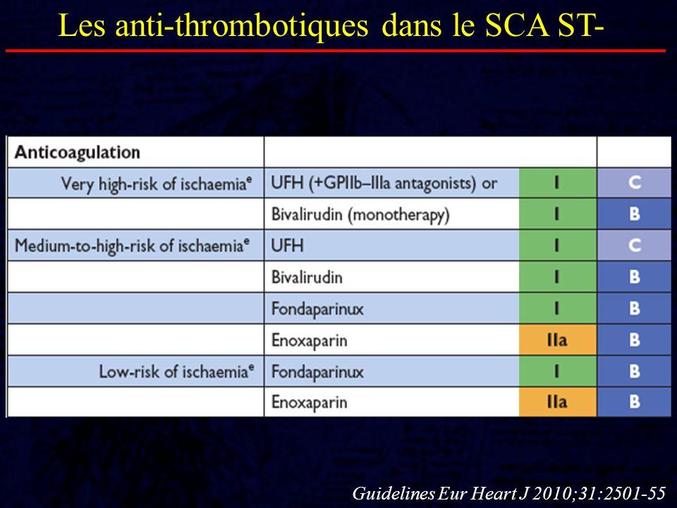 Les anti-thrombotiques dans le SCA ST- Guidelines Eur Heart J 2010;31:2501-55