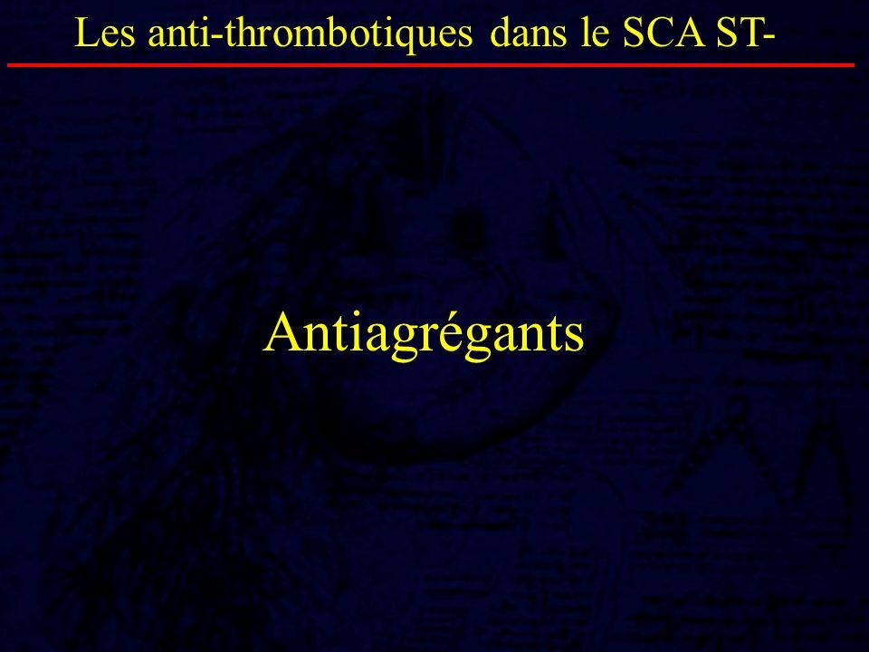 Antiagrégants Les anti-thrombotiques dans le SCA ST-