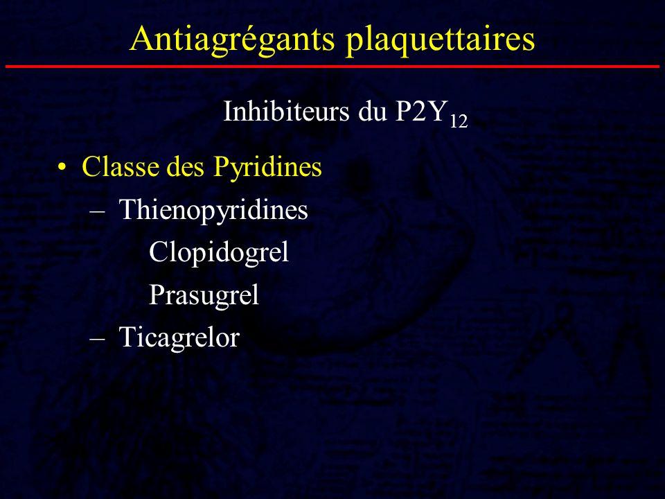 Antiagrégants plaquettaires Classe des Pyridines – Thienopyridines Clopidogrel Prasugrel – Ticagrelor Inhibiteurs du P2Y 12