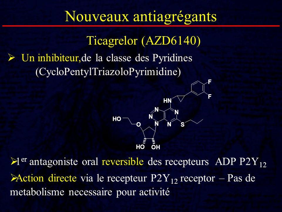 Nouveaux antiagrégants Un inhibiteur,de la classe des Pyridines (CycloPentylTriazoloPyrimidine) HO HN HO OH OS F F N N N N N Ticagrelor (AZD6140) 1 er