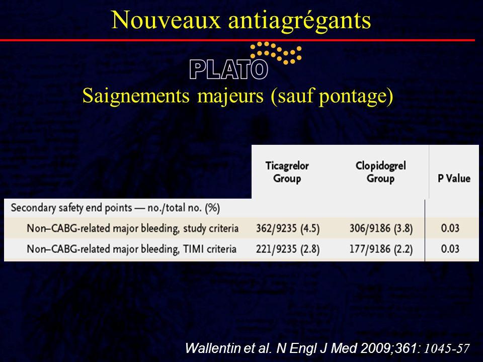 Saignements majeurs (sauf pontage) Nouveaux antiagrégants Wallentin et al. N Engl J Med 2009;361: 1045-57
