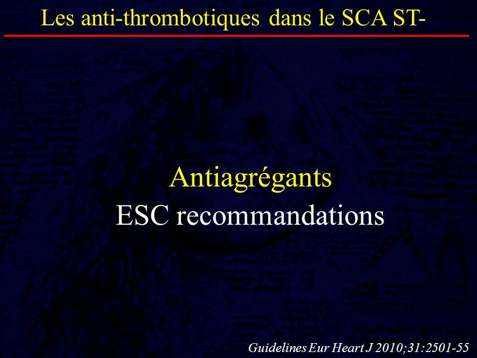 Antiagrégants ESC recommandations Les anti-thrombotiques dans le SCA ST- Guidelines Eur Heart J 2010;31:2501-55