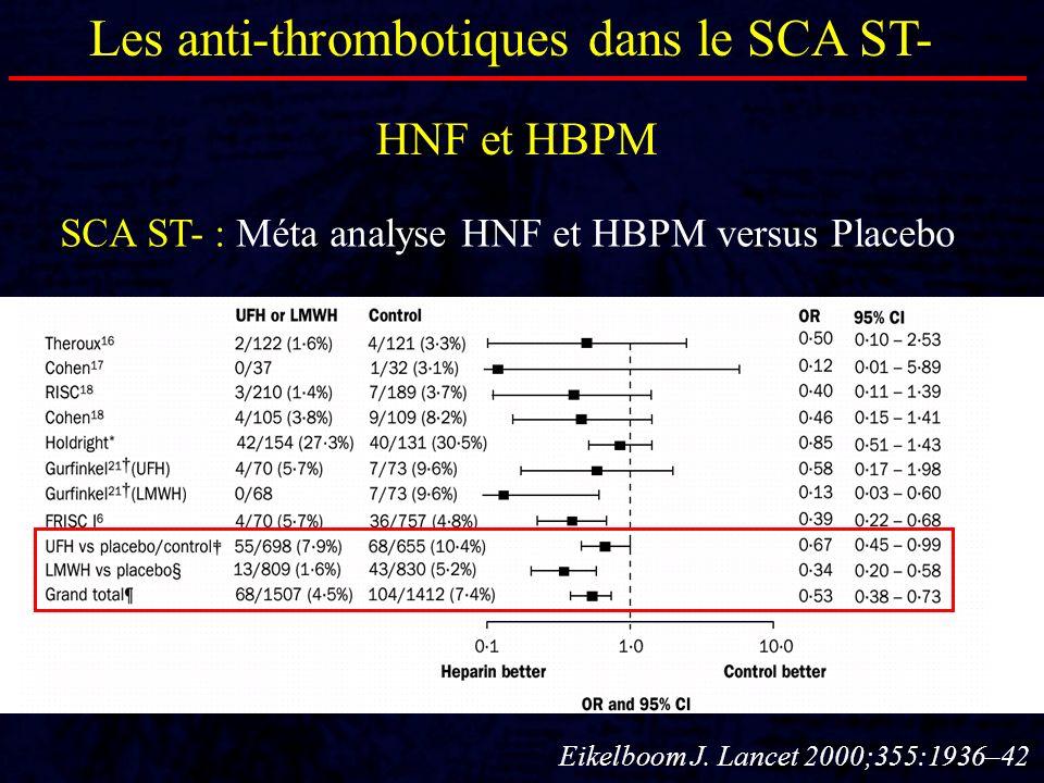 Les anti-thrombotiques dans le SCA ST- HNF et HBPM SCA ST- : Méta analyse HBPM versus HNF DC 1 mois DC ou IDM 1 mois Petersen et al.