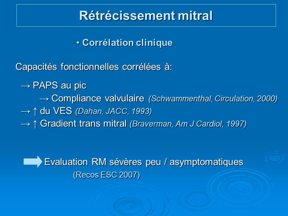 Capacités fonctionnelles corrélées à: PAPS au pic PAPS au pic Compliance valvulaire (Schwammenthal, Circulation, 2000) Compliance valvulaire (Schwamme