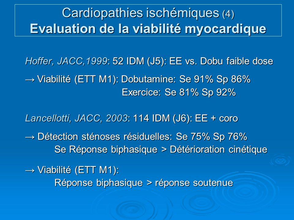 Cardiopathies ischémiques (4) Evaluation de la viabilité myocardique Hoffer, JACC,1999: 52 IDM (J5): EE vs. Dobu faible dose Viabilité (ETT M1): Dobut