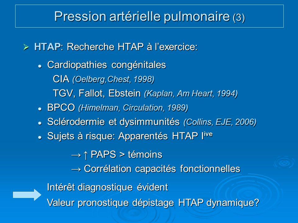 HTAP: Recherche HTAP à lexercice: HTAP: Recherche HTAP à lexercice: Cardiopathies congénitales Cardiopathies congénitales CIA (Oelberg,Chest, 1998) TG