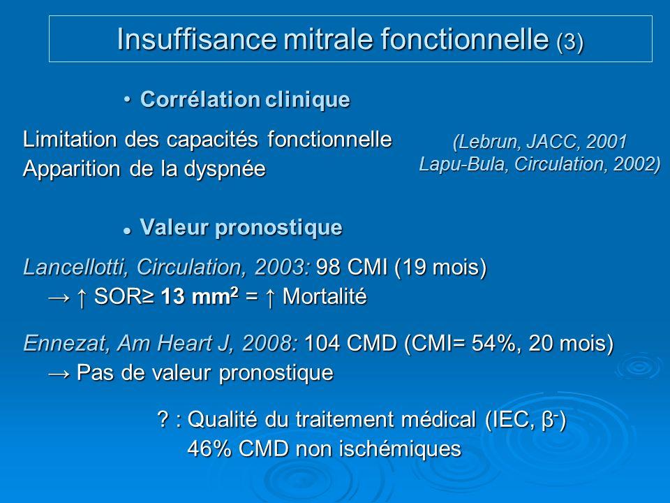 Corrélation cliniqueCorrélation clinique Limitation des capacités fonctionnelle Apparition de la dyspnée Valeur pronostique Valeur pronostique Lancell