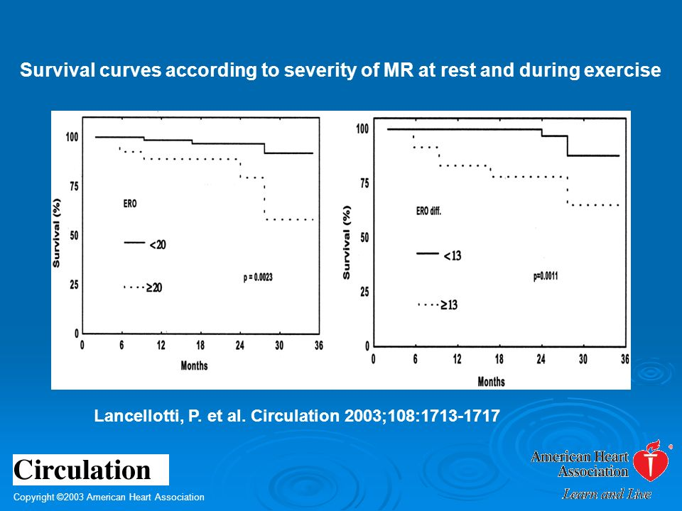 Copyright ©2003 American Heart Association Lancellotti, P. et al. Circulation 2003;108:1713-1717 Survival curves according to severity of MR at rest a