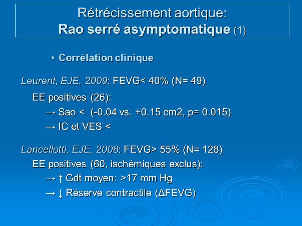 Valeur pronostiqueValeur pronostique Lancellotti, Circulation, 2005: FEVG nle (N= 69,15 mois) Gdt moyen > 18 mm Hg : évènements CV Gdt moyen > 18 mm Hg : évènements CV Maréchaux, Echocardiogr., 2007: FEVG> 50% (N= 50,11 mois) ΔFEVG< 0 : évènements CV ΔFEVG< 0 : évènements CV Évaluation diagnostique et pronostique Rao peu / asymptomatiques (Recos ESC 2007) Rétrécissement aortique: Rao serré asymptomatique (2)