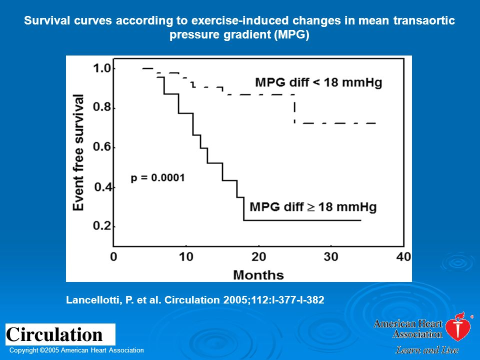 Copyright ©2005 American Heart Association Lancellotti, P. et al. Circulation 2005;112:I-377-I-382 Survival curves according to exercise-induced chang