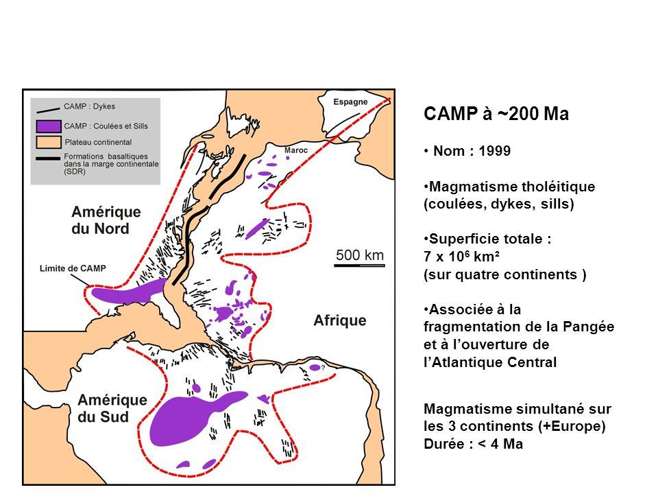 CAMP à ~200 Ma Nom : 1999 Magmatisme tholéitique (coulées, dykes, sills) Superficie totale : 7 x 10 6 km² (sur quatre continents ) Associée à la fragm
