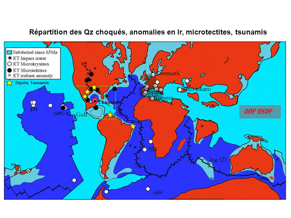 Répartition des Qz choqués, anomalies en Ir, microtectites, tsunamis 3 Les grandes transitions METEORITE ? Dépôts Tsunamis