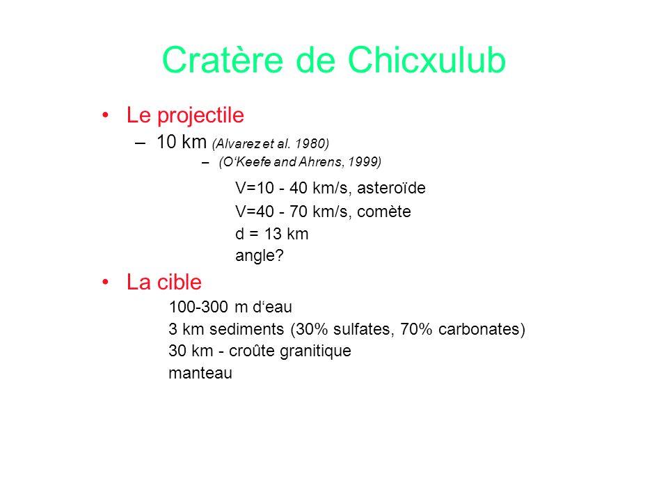 Cratère de Chicxulub Le projectile –10 km (Alvarez et al. 1980) –(OKeefe and Ahrens, 1999) V=10 - 40 km/s, asteroïde V=40 - 70 km/s, comète d = 13 km