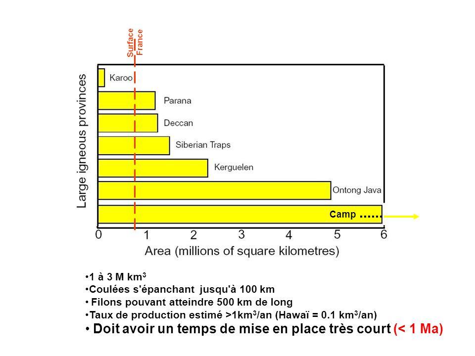Camp Surface France 1 à 3 M km 3 Coulées s'épanchant jusqu'à 100 km Filons pouvant atteindre 500 km de long Taux de production estimé >1km 3 /an (Hawa