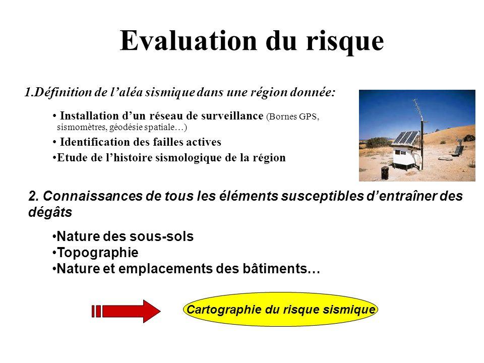Evaluation du risque 1.Définition de laléa sismique dans une région donnée: Installation dun réseau de surveillance (Bornes GPS, sismomètres, géodésie