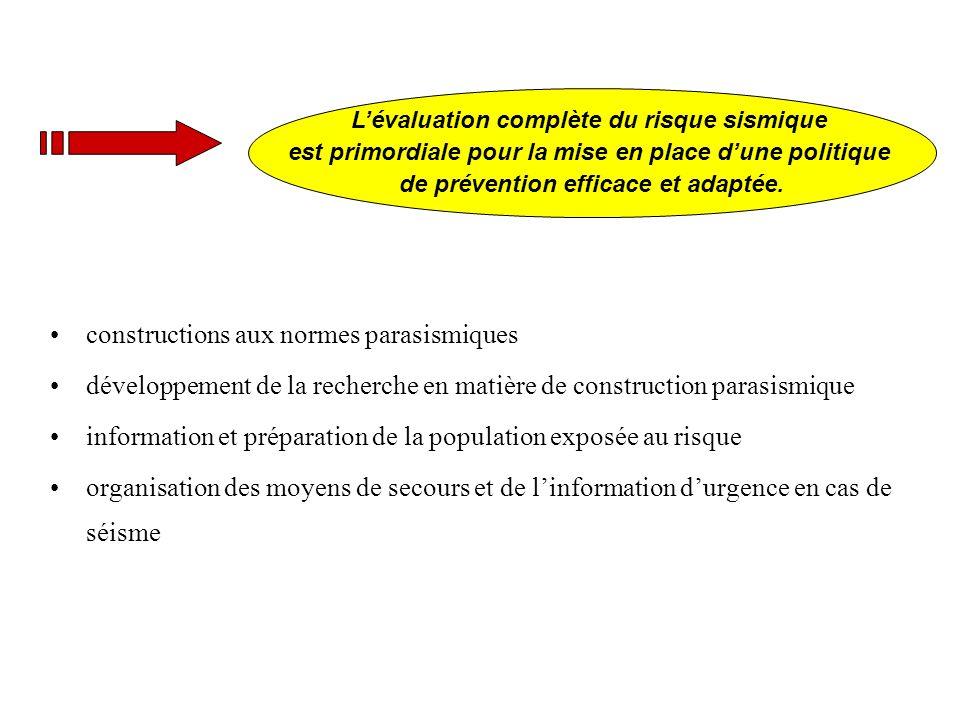 constructions aux normes parasismiques développement de la recherche en matière de construction parasismique information et préparation de la populati