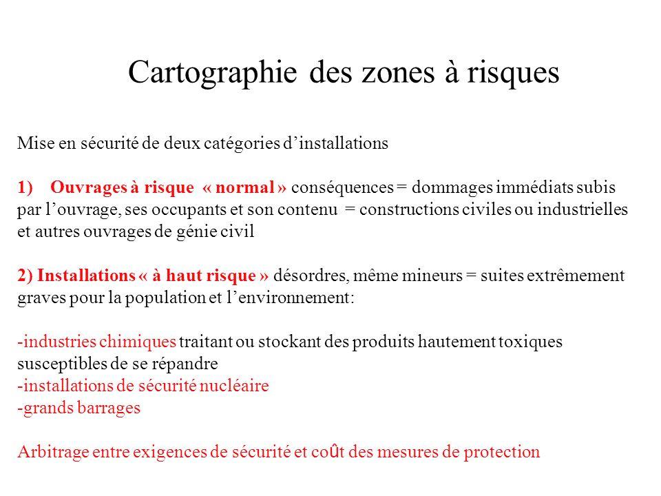 Cartographie des zones à risques Mise en sécurité de deux catégories dinstallations 1)Ouvrages à risque « normal » conséquences = dommages immédiats s
