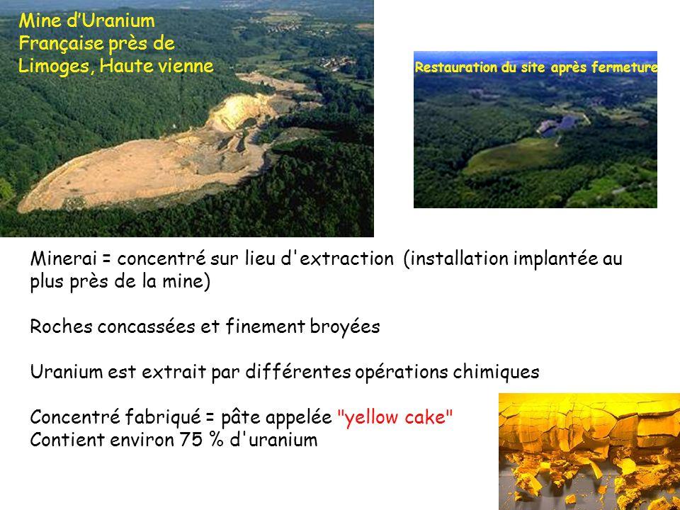 Minerai = concentré sur lieu d'extraction (installation implantée au plus près de la mine) Roches concassées et finement broyées Uranium est extrait p