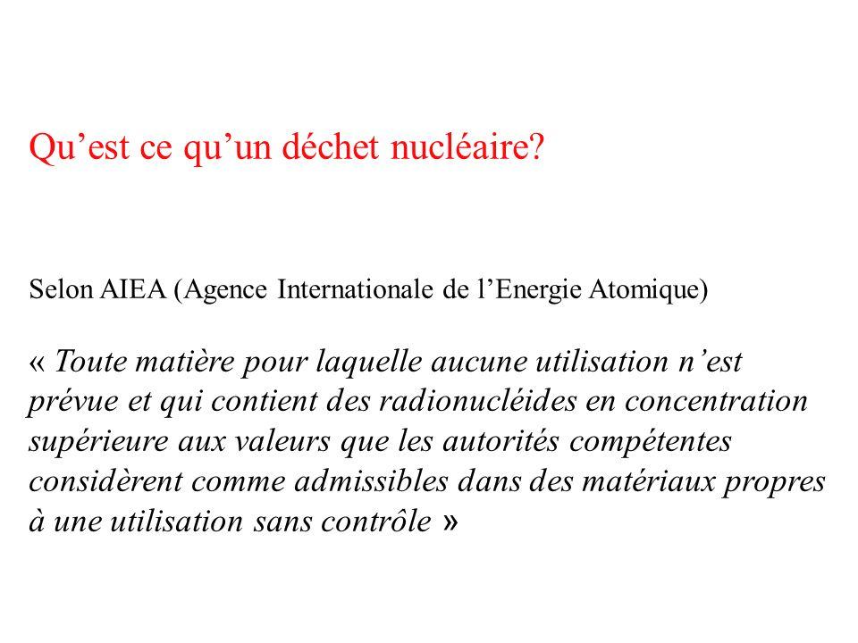 Quest ce quun déchet nucléaire? Selon AIEA (Agence Internationale de lEnergie Atomique) « Toute matière pour laquelle aucune utilisation nest prévue e
