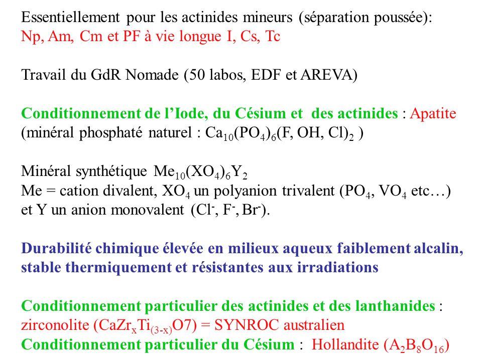Essentiellement pour les actinides mineurs (séparation poussée): Np, Am, Cm et PF à vie longue I, Cs, Tc Travail du GdR Nomade (50 labos, EDF et AREVA