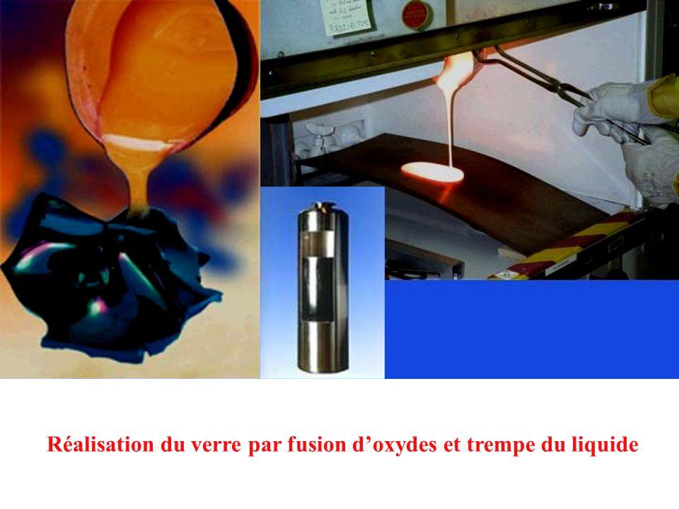 Réalisation du verre par fusion doxydes et trempe du liquide