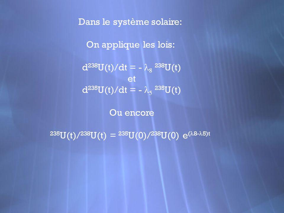 Dans le système solaire: On applique les lois: d 238 U(t)/dt = - 238 U(t) et d 235 U(t)/dt = - 235 U(t) Ou encore 235 U(t)/ 238 U(t) = 235 U(0)/ 238 U