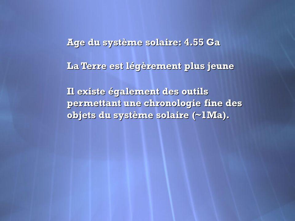 Age du système solaire: 4.55 Ga La Terre est légèrement plus jeune Il existe également des outils permettant une chronologie fine des objets du systèm
