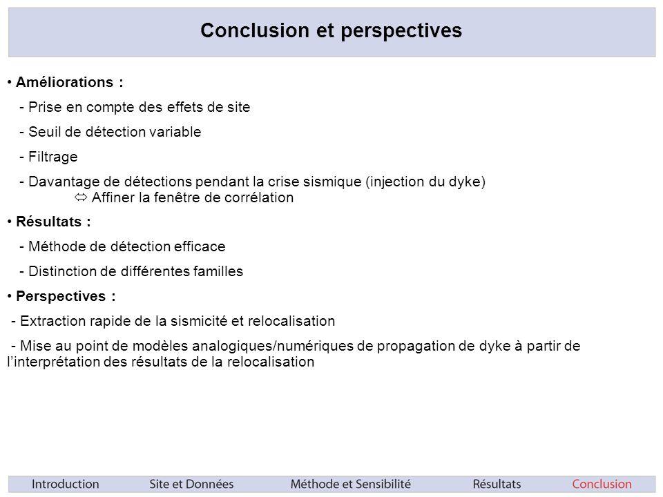 Conclusion et perspectives Améliorations : - Prise en compte des effets de site - Seuil de détection variable - Filtrage - Davantage de détections pendant la crise sismique (injection du dyke) Affiner la fenêtre de corrélation Résultats : - Méthode de détection efficace - Distinction de différentes familles Perspectives : - Extraction rapide de la sismicité et relocalisation - Mise au point de modèles analogiques/numériques de propagation de dyke à partir de linterprétation des résultats de la relocalisation